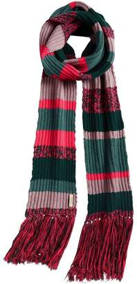 Burberry Striped Rib Knit Wool Cashmere Scarf