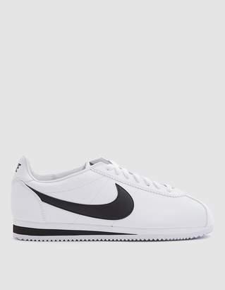 Nike Classic Cortez Leather Shoe in White/Black