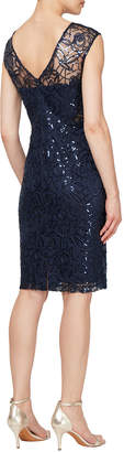 Ignite Floral-Embroidered Sequined Cocktail Dress