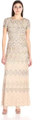 Adrianna Papell Women's Short Sleeve Long Beaded Embellished Gown