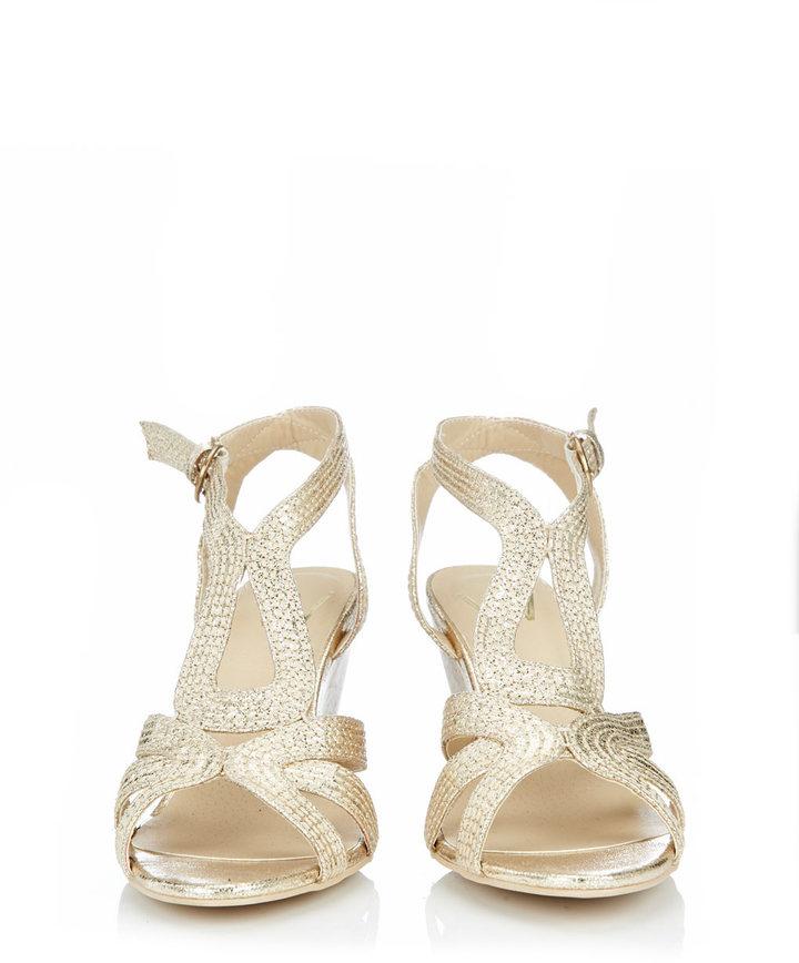 Wallis Gold Caged Wedge Sandal