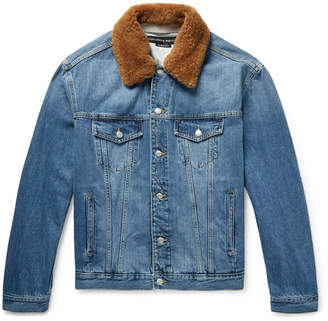 Alexander McQueen Shearling-Trimmed Embroidered Denim Jacket
