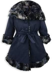 Helena and Harry Little Girl's& Girl's Reversible Faux Fur-Lined Hooded Jacket
