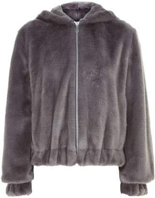 Helmut Lang Hooded Faux Fur Bomber Jacket