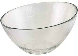"""Ten Strawberry Street 10 Strawberry Street Hammered Glass 10"""" Angled Bowls, Set of 2, Clear"""
