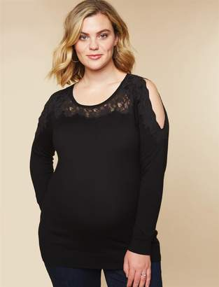Motherhood Maternity Plus Size Cold Shoulder Maternity Sweater