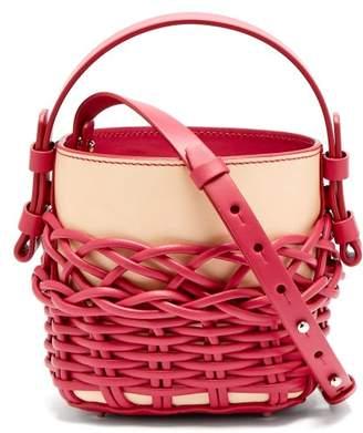 Nico Giani - Adenia Mini Woven Leather Bucket Bag - Womens - Pink Multi