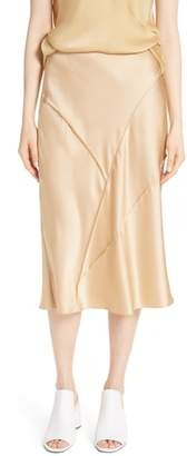 Vince Raw Edge Bias Silk Skirt