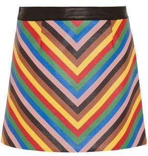 Sara Battaglia Striped Leather Mini Skirt