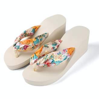 Aerusi Saki Floral Wedge Flip Flop Sandals