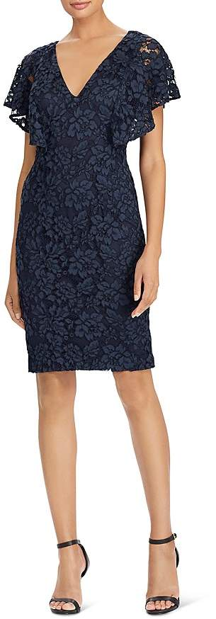 Ralph Lauren Ruffle-Sleeve Lace Dress