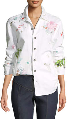 Cinq à Sept Whimsical Canyon Button-Front Embroidered Denim Jacket