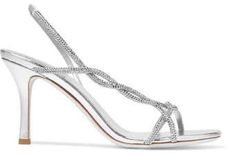 Rene Caovilla Treccia Crystal-embellished Satin Slingback Sandals - Silver
