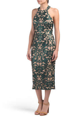 Made In Usa High Neck Sequin Midi Dress