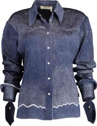 Chloé Cowboy-Inspired Ombre Silk Seersucker Shirt