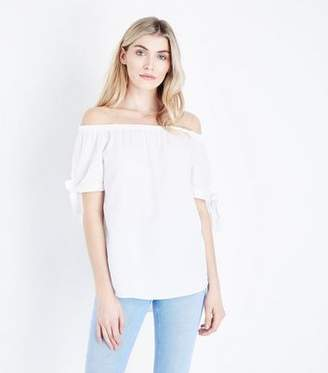 Bardot Cameo Rose White Neck Tie Sleeve Top