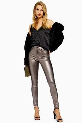 Topshop Womens Gunmetal Foil Jamie Jeans