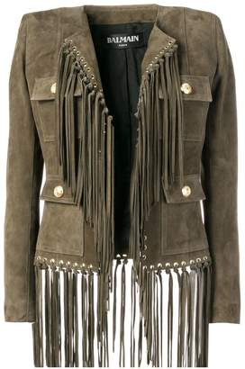 Balmain fringed leather jacket