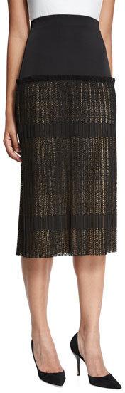 AlexisAlexis Alysa High-Rise Paneled Plisse Lace Midi Skirt, Black