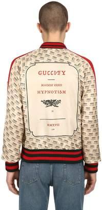 Gucci Logo Print Duchesse Satin Bomber Jacket
