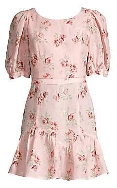 LoveShackFancy Women's Lena Floral Linen Ruffle Dress