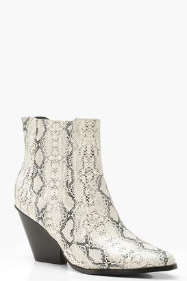 20d81e75606f boohoo Western Style Snake Print Ankle Boots