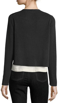 Eileen Fisher Fine Crepe-Knit Cropped Cardigan $218 thestylecure.com