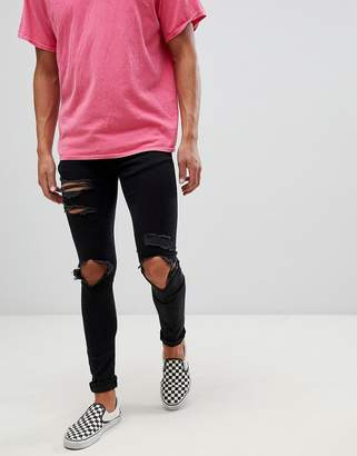 Mennace super skinny jeans in black with distressing