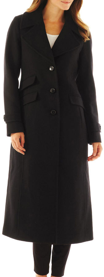 JCPenney Worthington Wool-Blend Classic Long Tailored Coat - Talls