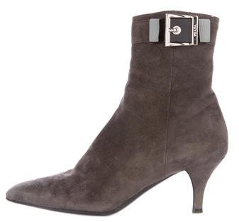 pradaPrada Buckle-Accented Suede Ankle Boots