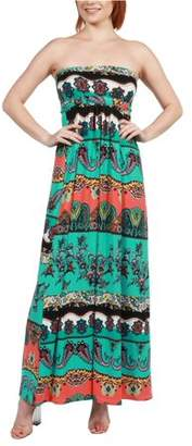 24/7 Comfort Apparel Women's Bethany Strapless Green and Black Empire Waist Maxi Dress