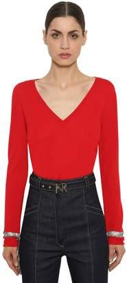 Nina Ricci Wool Knit Sweater W/ Crystal Details