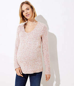 LOFT Maternity Marled V-Neck Sweater