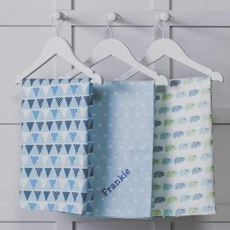 That's mine personalised embroidered gifts Personalised Three Pack Blue Baby Muslin Squares