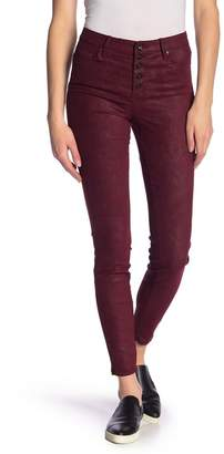 Tractr High Rise Exposed Button Coated Skinny Jeans