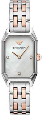Emporio Armani AR11146 Women's Crystal Bracelet Strap Watch, Silver/Rose Gold