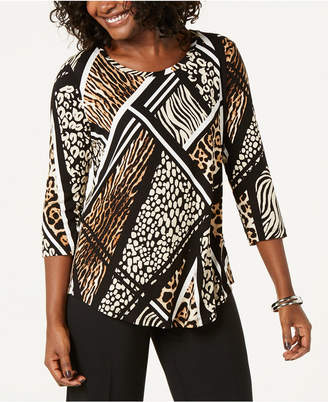 JM Collection Abstract Blooms Printed Top