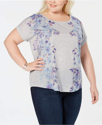 Style&Co. Style & Co Plus Size Embellished Printed Graphic T-Shirt