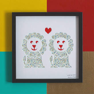 Bertie & Jack 'Loved Up Lions' Lions Wedding Gift Artwork