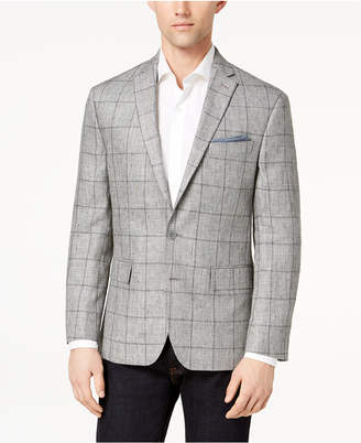 Ryan Seacrest Distinction Men's Modern-Fit Gray Windowpane Linen Sport Coat, Created for Macy's