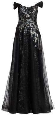 Teri Jon by Rickie Freeman Print Sequin Tulle Gown