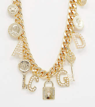 Reclaimed Vintage inspired multi charm and pearl necklace