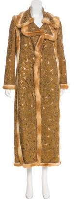 Oscar de la Renta Embellished Suede Coat