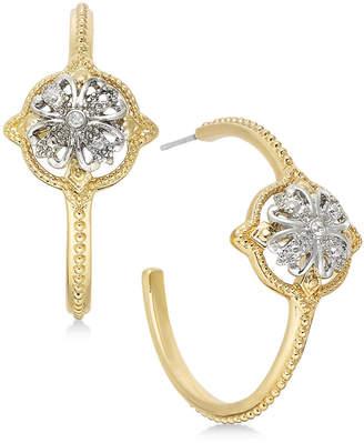 Charter Club Two-Tone Crystal Cluster Open Hoop Earrings