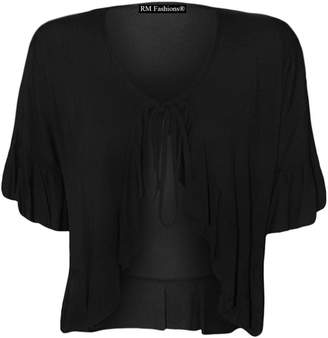 Roland Mouret Fashions Women's Plus Size Frill Tie Bolero Shrug Cardigan