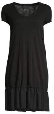 ATM Anthony Thomas Melillo Women's Slub Jersey Ruffle Hem Dress - Black - Size Large