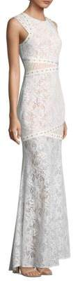 BCBGMAXAZRIA Leaf Dot Lace Floor-Length Gown