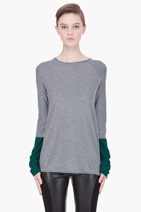 Alexander Wang grey and green Color Block Pullover