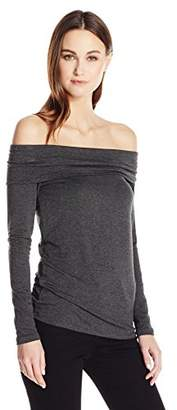 Three Dots Women's Off Shoulder French Terry Tee