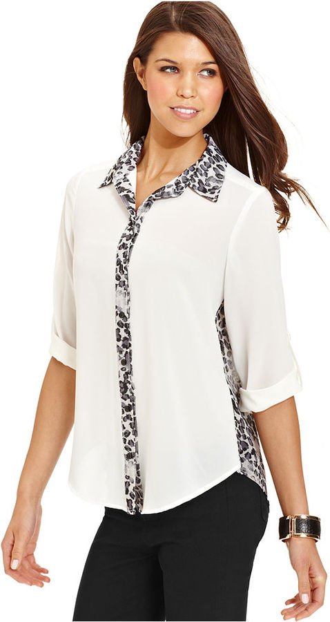 Amy Byer Juniors Top, Long Sleeve Roll-Tab Animal-Print Cutout Blouse